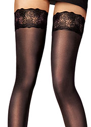 Pretty Polly Fashion Velvet Lace Hold Ups Zoom 2