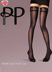 Pretty Polly Fashion Velvet Lace Hold Ups Zoom 1