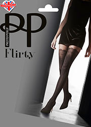 Pretty Polly Flirty Mock Lace Hold Ups Tights Zoom 1