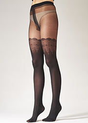 Pretty Polly Flirty Mock Lace Hold Ups Tights Zoom 2