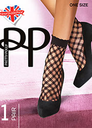 Pretty Polly Large Criss Cross Net Anklet