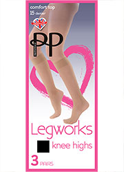 Pretty Polly Legworks Comfort Top Knee Highs (3PP)