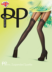 Pretty Polly Pretty Suspended Sparkle Gold Link Suspender Tights
