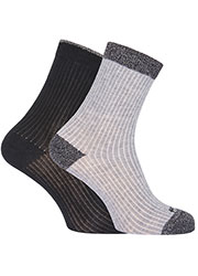 Pretty Polly Rib Effect Socks With Lurex 2PP