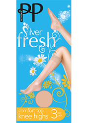 Pretty Polly Silver Fresh Comfort Top Knee Highs (3PP)
