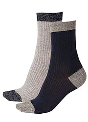 Pretty Polly Sparkle Rib Socks 2 Pair Pack