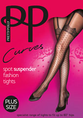 Pretty Polly Curves Mock Spot And Lace Suspender Tights Zoom 1