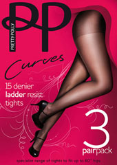 Pretty Polly Curves Ladder Resist Tights 3PP Thumbnail