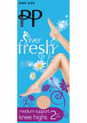 Pretty Polly Silver Fresh Medium Support Knee High (2PP)