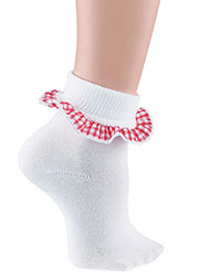 Pex Childrens Gingham Cotton Rich Ankle Socks 2 PP Zoom 2