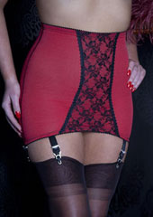 Sassy 6 Strap Red And Black Lace Open Bottom Girdle