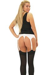 Sassy 6 Strap Lace Front White Suspender Belt With Thong Brief Zoom 2