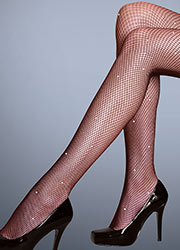 Silky Scarlet Diamante Fishnet Tights Zoom 2