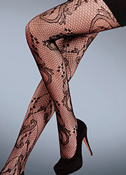Silky Scarlet Vine Fishnet Tights Zoom 2