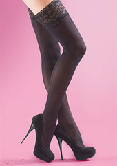Silky Soft Opaque 40 Denier Lace Top Hold Ups Zoom 2