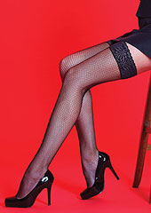 Silky Scarlet Lace Top Fishnet Hold Ups