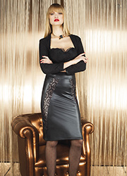 Trasparenze Fluorite Leather Look Skirt
