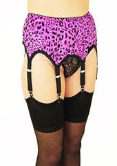 Sassy 6 Strap Sparkle Leopard Suspender Belt Zoom 2
