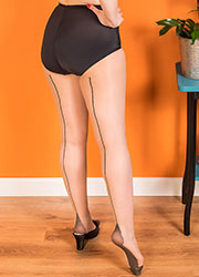 What Katie Did Retro Contrast Seamed Tights Champagne Black Zoom 2