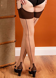 What Katie Did Glamour Cuban Heel Seamed Stockings Champagne Coffee Zoom 2
