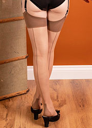 What Katie Did Glamour Cuban Heel Seamed Stockings Champagne Latte Zoom 2