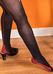 What Katie Did Opaque Seamed Tights Black Red Zoom 2