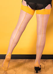 What Katie Did Glamour Contrast Seamed Stockings Champagne Mustard Zoom 2