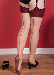 What Katie Did Glamour Contrast Seamed Stockings Claret Zoom 2