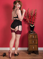 What Katie Did Glamour Contrast Seamed Stockings Champagne Claret