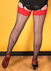 What Katie Did Glamour Contrast Seamed Stockings Black Red Zoom 2