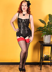 What Katie Did Glamour Contrast Seamed Stockings Black Red Zoom 3