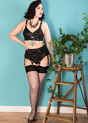 What Katie Did Glamour Contrast Seamed Stockings Grey Zoom 3