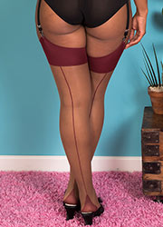 What Katie Did Glamour Contrast Seamed Stockings Nutmeg Claret Zoom 2