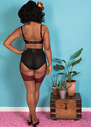What Katie Did Glamour Contrast Seamed Stockings Nutmeg Claret