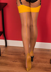 What Katie Did Glamour Contrast Seamed Stockings Nutmeg Mustard Zoom 2