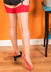 What Katie Did Glamour Contrast Seamed Stockings Champagne Red Zoom 2