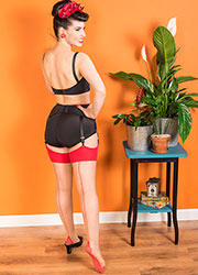 What Katie Did Glamour Contrast Seamed Stockings Red
