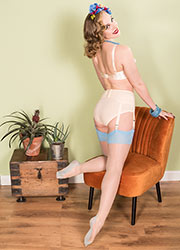 What Katie Did Glamour Contrast Seamed Stockings Champagne Sky