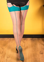 What Katie Did Glamour Contrast Seamed Stockings Champagne Teal Zoom 2