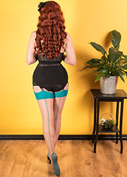 What Katie Did Glamour Contrast Seamed Stockings Teal