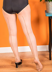 What Katie Did Retro Contrast Seamed Tights Latte Zoom 2