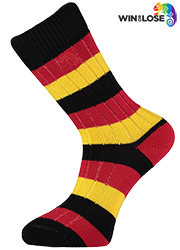 Win or Lose Black Gold Red Stripe Cotton Socks