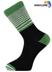 Win or Lose Green White and Black Stripe Comfort Cotton Socks