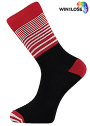 Win or Lose Red, White and Black Stripe Comfort Cotton Socks