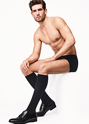 Wolford Cotton Velvet Mens Knee Socks Zoom 1
